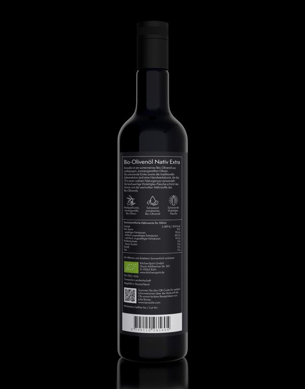Rückseite Bio-Olivenöl kaltgepresst von Kenzolie